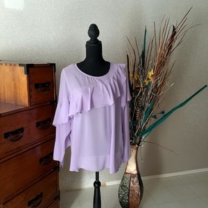 ELOQUII Plus Lavender Sheer Tiered Tunic Top NWT